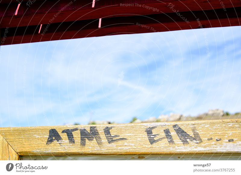lebensnotwendig | Atmen Thementag atmen Atmung einatmen Gesundheit Lebensnotwendig Nahaufnahme Tafel Farbfoto Graffiti Schriftzug Faserstift Natur