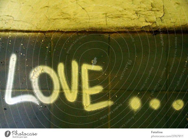 Love... - oder der Schriftzug Love an einer Wand in einem Lost Place Liebe Schriftzeichen geschrieben Buchstaben Punkte Verfall lost places Farbfoto