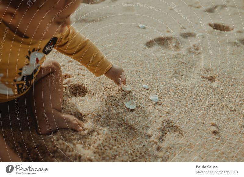 Kleinkind spielt mit Muscheln Kind Kindheit Strand Sand Sandstrand Panzer Sommerurlaub Ferien & Urlaub & Reisen Muschelschale Natur Außenaufnahme Meer