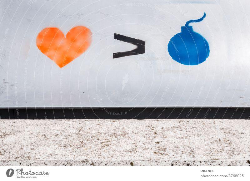 Back to Love Graffiti Bombe Krieg Gewalt Politik & Staat Liebe Gegensätze Gegenteil Symbole & Metaphern Herz Frieden Hoffnung Pazifist