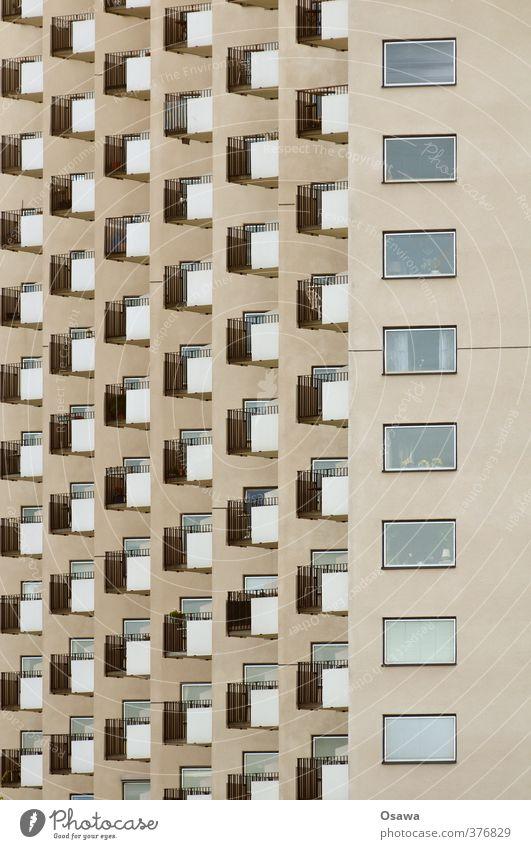 Schöner Wohnen Stockholm Stadt Hauptstadt Haus Hochhaus Bauwerk Gebäude Architektur Wohnhaus Fassade Balkon Fenster Langeweile Platzangst Raster Muster Etage