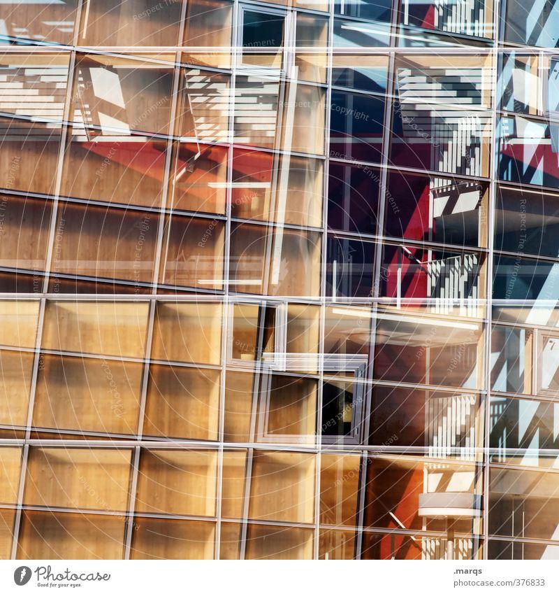 # elegant Stil Design Bauwerk Gebäude Architektur Fassade Fenster Glas Metall Linie außergewöhnlich Coolness trendy modern neu verrückt Farbe Perspektive