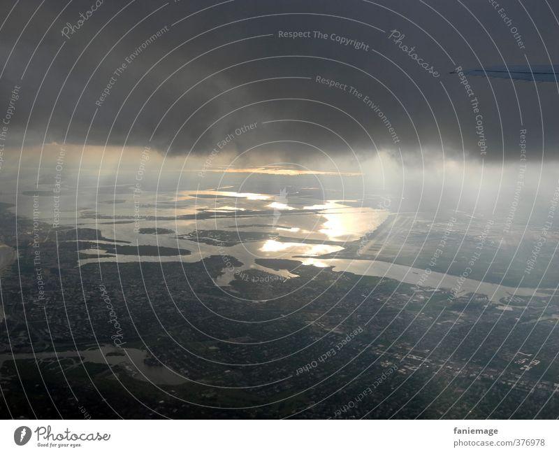 New York Ceiling Himmel Ferien & Urlaub & Reisen blau Stadt Wasser Meer Wolken schwarz Ferne dunkel Küste Freiheit grau Erde Luft Regen