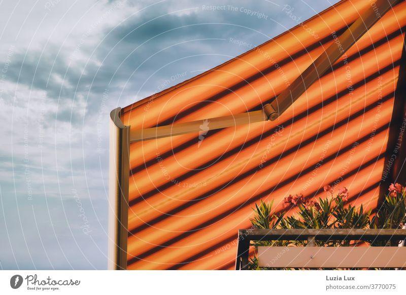 Die letzten Tage des Sommers oder eine gestreifte Markise in einer Hochhaussiedlung, mit blauem Himmel, Oleander und Sonnenlicht Sonnenschirm Balkon