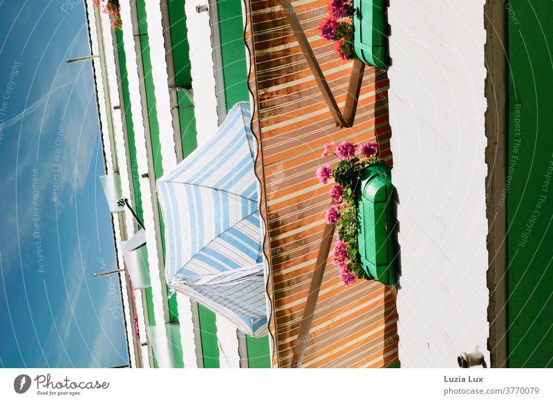 Die letzten Tage des Sommers oder Balkone und Sonnenschilde in einer Hochhaussiedlung, mit blauem Himmel und Sonnenlicht Markise Sonnenschirm Balkonblumen
