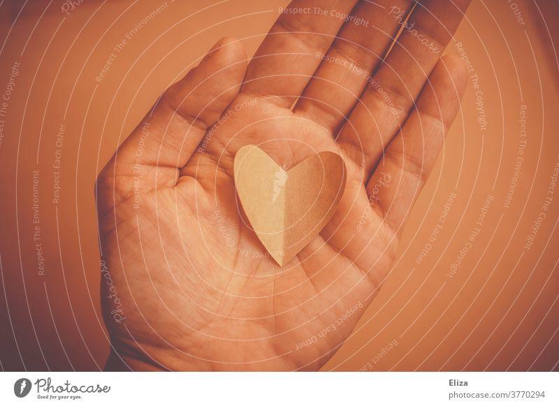 Herz in der Hand. Ton in Ton. Liebe liebevoll ton in ton Liebe geben Gefühl Gefühle Romantik Geschenk romantisch Geben wertvoll halten behutsam Valentinstag