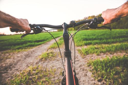 Fahrradfahren / Radfahren durch die Natur Fahrradtour lenken Mann gesund Bewegung Ausflug unterwegs besonders radfahrer Lenker Wege & Pfade