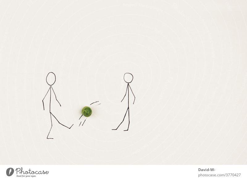 Menschen spielen Fussball Fußball Ballsport Sport Kunst zeichnung Strichmännchen Freizeit & Hobby Freundschaft sportlich