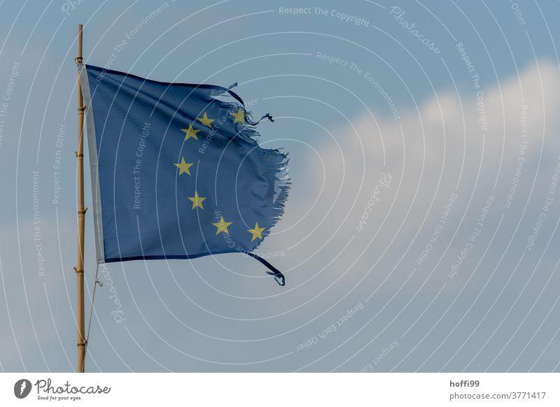 Europafahne - vom Wind zerfleddert Europaflagge ausgefranst Verfall Stern (Symbol) Symbole & Metaphern Politik & Staat zerfallen Vergänglichkeit Traurigkeit