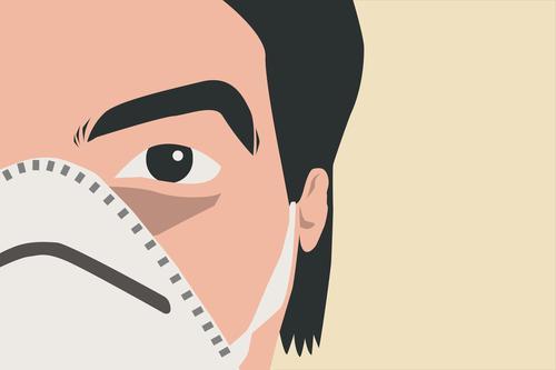 Halbporträt eines jungen kaukasischen erwachsenen Arztes mit einer weißen Maske. Kopierfeld rechts. Mann, der in die Kamera schaut. Konzept der Virusprävention, neues Pandemierisiko. Vektor-Illustration. Isoliert