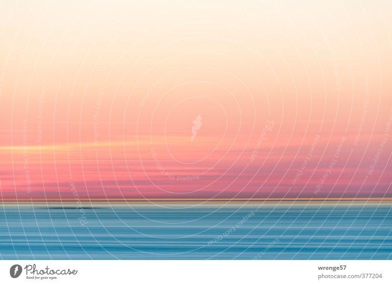 Abendröte und Meer Natur Landschaft Urelemente Luft Wasser Himmel Wolken Horizont Wellen Küste Ostsee blau rosa Abenddämmerung Sonnenuntergang Röte