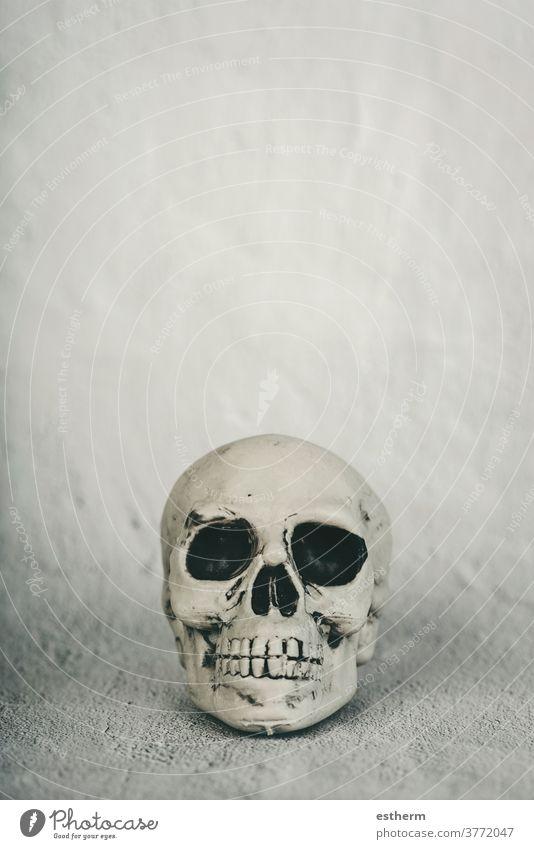 hintergrund des halloween-konzepts Halloween Schädel Halloween Kürbis Hintergrund Hexerei austricksen oder behandeln Party gotisch Skelett Zauberei u. Magie