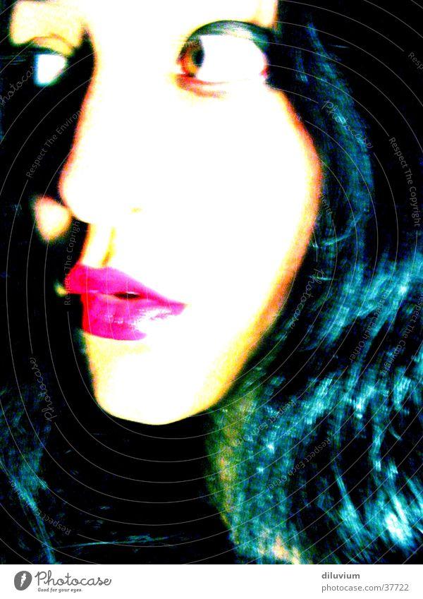 redblacksessionsII Frau rot Gesicht schwarz Haare & Frisuren Lippen