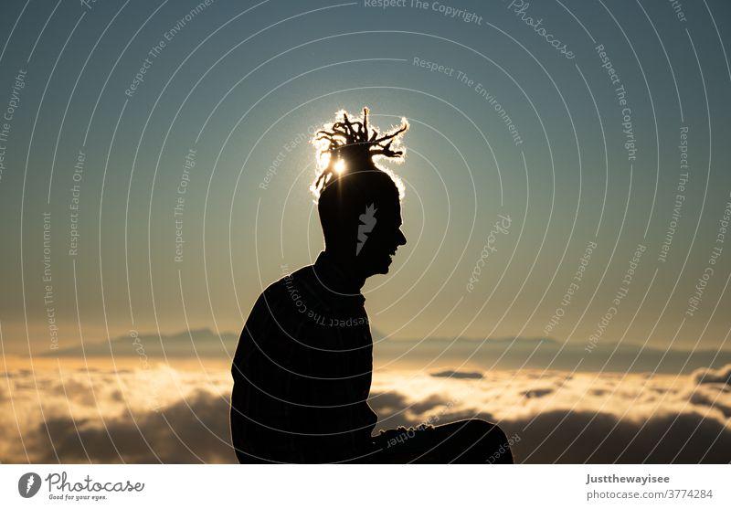 Silhoutte mit wunderschönem Sonnenuntergang am Teide Fotografie Ferien & Urlaub & Reisen Europa Ausflugsziel Kanarienvogel Sehenswürdigkeit Natur Landschaft