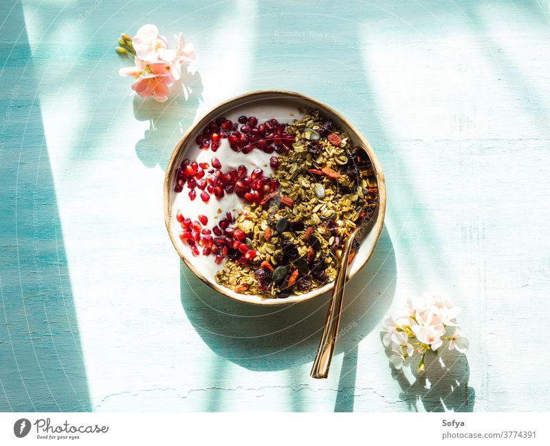Hausgemachte Müsli-Schale mit Granatapfel Frühstück Hintergrund lecker Schalen & Schüsseln getrocknet Frucht Pastell Saatgut Joghurt oben Herbst Stil