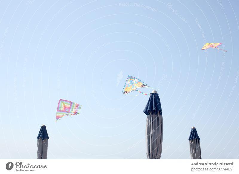 Reihe von Spielzeugdrachen, die über einen Sonnenschirm fliegen Drachen blau Himmel Sommer MEER Strand Kindheit Spaß spielen Freizeit Textfreiraum drucken