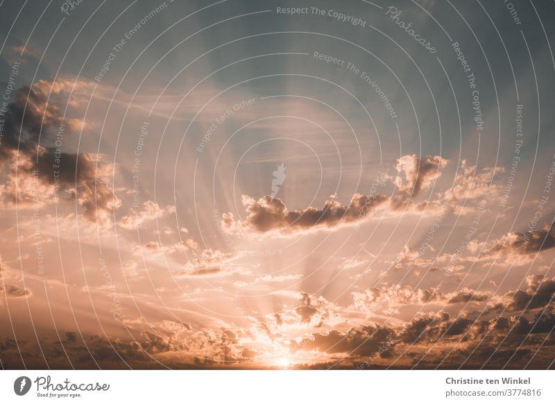 lebensnotwendig | Sonnenlicht . Sonnenaufgang mit Sonnenstrahlen bei leicht bewölktem Himmel Wolken Sonnenuntergang Sonnenaufgang Himmel Licht Natur Gegenlicht