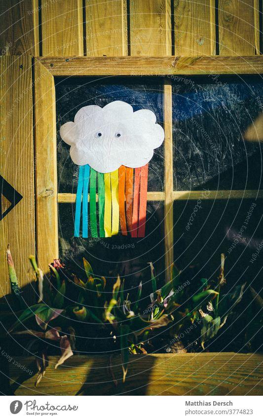 Corona-Regenbogen gibt Hoffnung corona coronavirus corona-krise Kind Kindergarten Kinder Schule schulfrei selbstgemacht Dekoration & Verzierung bunt Wolken