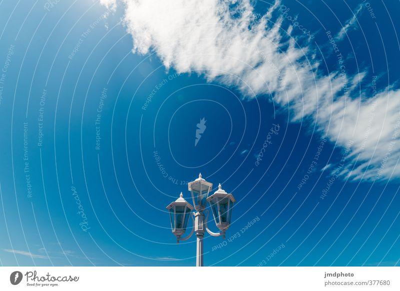 Laterne, Laterne, Laterne Umwelt Urelemente Luft Himmel Wolken Sommer Klima Wetter Schönes Wetter Wind blau weiß Wolkenformation Wolkenbild Wolkenschleier