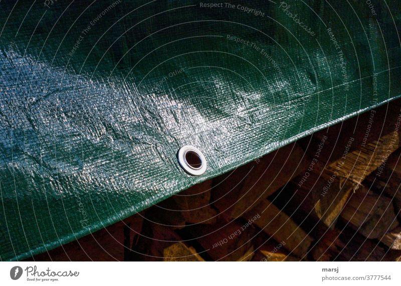 Metallöse in grüner Abdeckplane, die einen Stapel Brenn-Holz vor Nässe schützt. Öse glänzend schtu Schutz Kunststoff Detailaufnahme Strukturen & Formen Muster