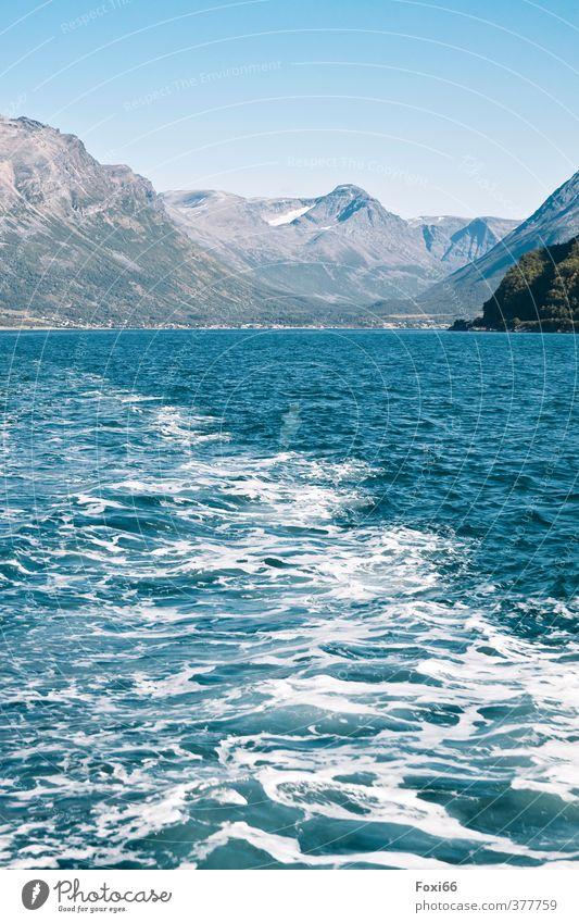 Abreise Natur Ferien & Urlaub & Reisen blau grün weiß Wasser Sommer Erholung Meer Einsamkeit ruhig kalt Umwelt Berge u. Gebirge Leben wandern