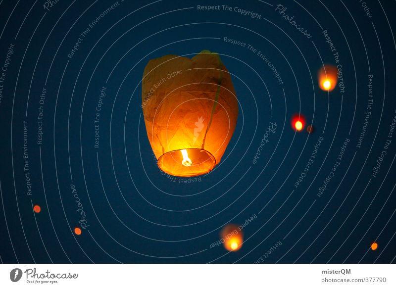 Falling Stars III Kunst ästhetisch Zufriedenheit Romantik Lampion Ballone Luftballon Abenddämmerung Himmel Freiheit Himmel (Jenseits) historisch himmelwärts
