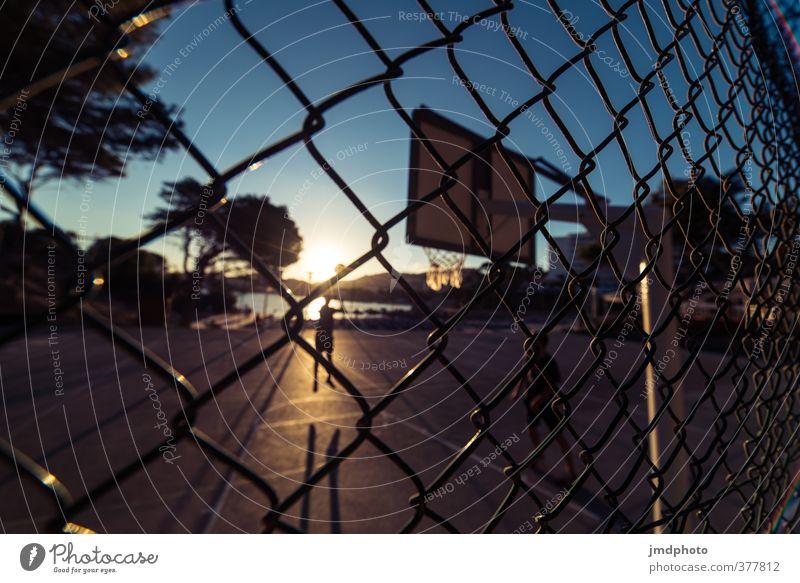 hinterm Zaun Mensch Kind Jugendliche blau Sommer Sonne Meer schwarz gelb Sport Junge maskulin Freizeit & Hobby 13-18 Jahre Fitness Ball