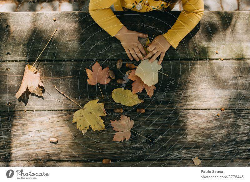 Mit Herbstblättern spielendes Kind herbstlich Herbstlaub authentisch Herbstfärbung fallen Umwelt Herbstwetter Baum Tag Außenaufnahme Natur Farbfoto Herbstbeginn