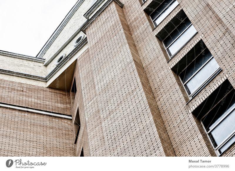 Backsteingebäude Kiew Ukraine Architektur Hintergrund Baustein Gebäude Großstadt Detailaufnahme Anwesen Außenseite Fassade viele modern orange Muster wirklich