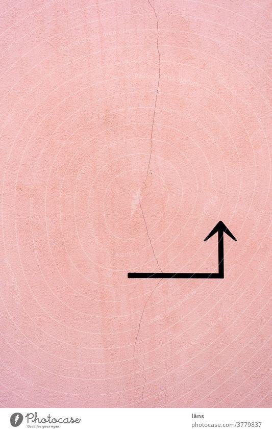 Richtungswechsel l Navigation Pfeil Schilder & Markierungen Hinweis Orientierung Wege & Pfade Wegweiser Empfehlung abbiegen Linie links zeigen Menschenleer Ecke