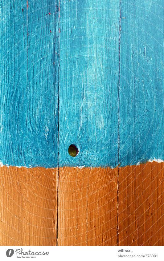 grafisch | ein wasserloch. Farbe Holz orange Kreativität türkis Holzwand Maserung Astloch Farbenwelt Bretterzaun