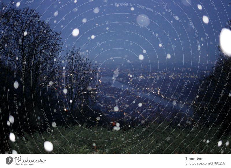 Frohe Weihnachten - statt Karten Schnee Schneefall Winter Weihnachten & Advent Wald Heidelberg Nacht dunkel Außenaufnahme Schneeflocke Himmel Neckar Fluss