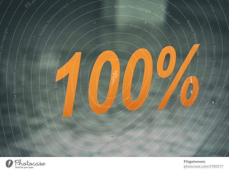 100% Leerstand 100%-Bildausschnitt Prozentzeichen Ladengeschäft Miete Mieter mieten Fenster Schaufenster