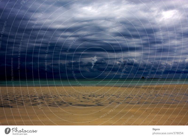 Himmel Natur Ferien & Urlaub & Reisen blau grün weiß Meer Wolken Strand schwarz gelb Küste Stein braun Sand Linie