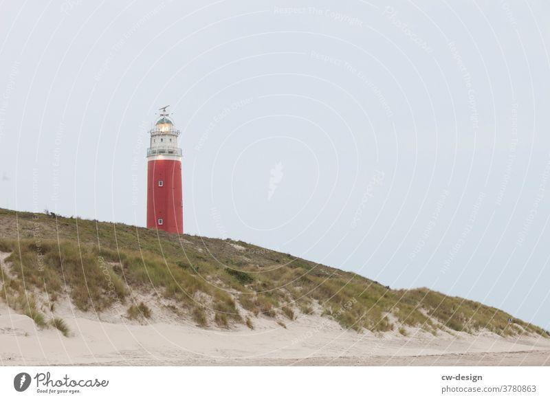 Leuchtturm auf Texel leuchten Leuchtfeuer Strand Düne Niederlande Nordsee Meer Wolken Küste Himmel Außenaufnahme Farbfoto Landschaft Ferien & Urlaub & Reisen