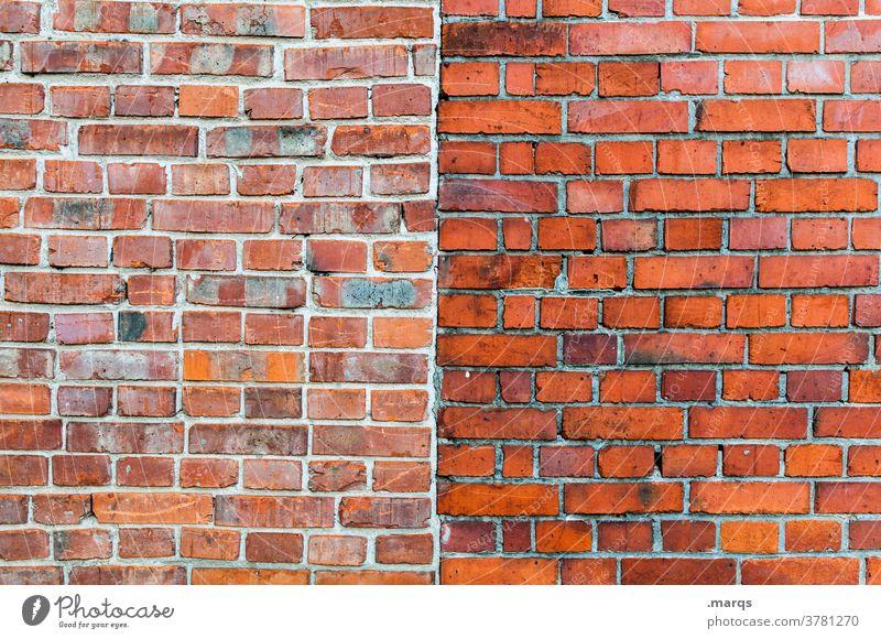Backsteinmauer Backsteinwand Wand Strukturen & Formen einfach Trennung Muster Mittellinie Hintergrundbild bauen Nahaufnahme