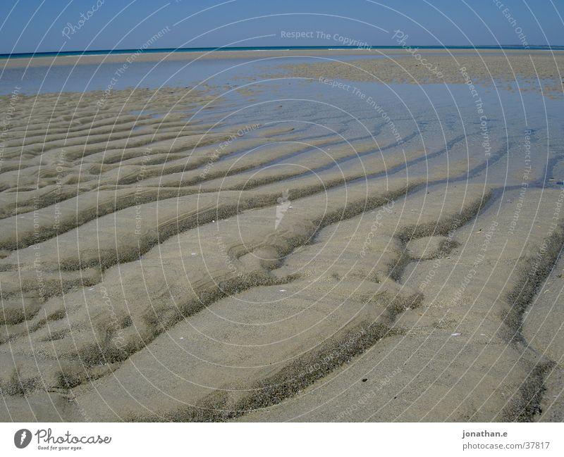 Ebbe Wasser Himmel Meer Strand Sand Spuren Streifen Frankreich Atlantik Gezeiten