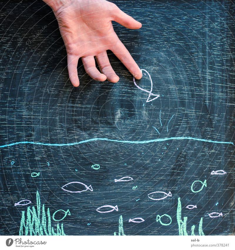 au! Hand 1 Mensch Wasser Tiergruppe Aggression frech Originalität schwarz Vorsicht gefährlich Wut Gewalt Kreativität Kreidezeichnung Fisch Kunst Bild lustig