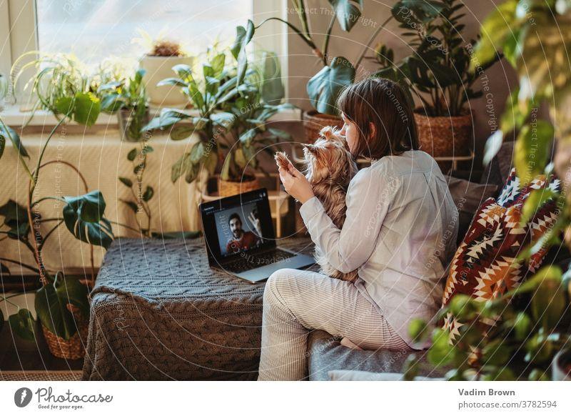 Mädchen mit Hund spricht auf Skype (Videochat) Junge Frau Telefongespräch Mobilität Medien soziale Netzwerke Mitteilung reden Talkrunde Laptop Internet Teenager