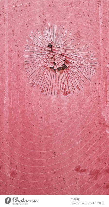 Geplatzte Träume in rot Lack geplatzt abgeblätterte Farbe abblättern Metall Verfall kaputt Wandel & Veränderung Rost alt Verletzung Zerstörung Riss