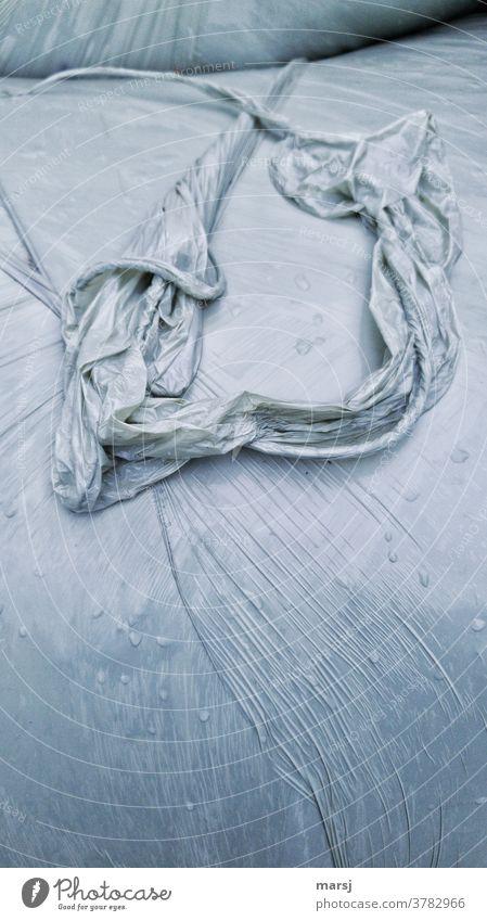dessous auf dem wasserbett Verpackungsmüll Problemstoff Erdölprodukt entsorgen Haltbarkeit Siloballen Strukturen & Formen Silofolie Umweltverschmutzung