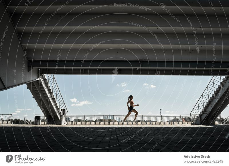 Aktive Frau läuft auf der Straße Sportlerin Läufer Training passen Athlet Fitness aktiv Wellness Silhouette laufen Herz Marathon Bewegung Kraft Sprint