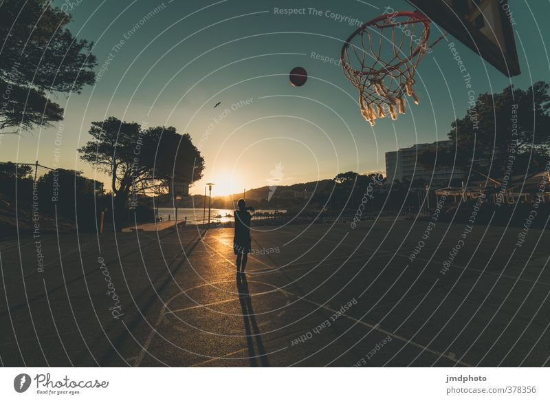Basketballer Lifestyle Spielen Sommer Sommerurlaub Sonne Strand Meer Sport Fitness Sport-Training Sportler Basketballkorb Ball Basketballplatz Mensch maskulin