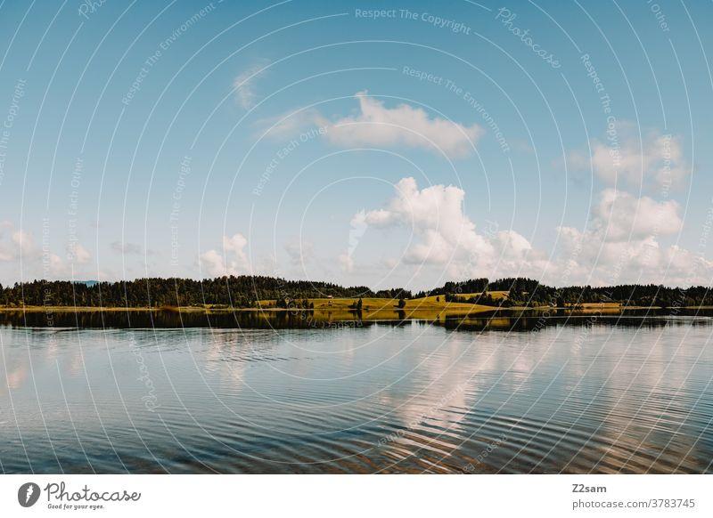 See in den Alpen alpen see spiegelung bergsee allgäu bayern Reflektion natur landschaft ausbilck blau wasser leben gewässer ruhig horizont himmel wolken sommer