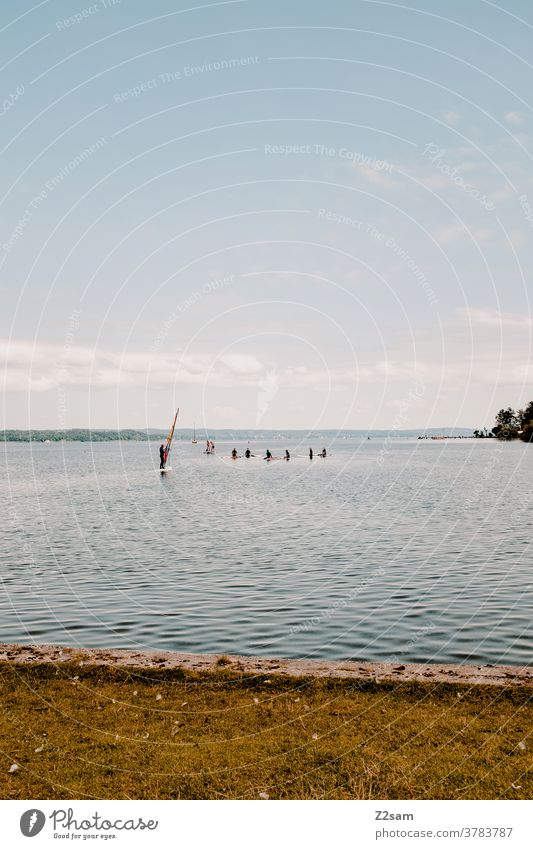 Surfschule Starnberger See wassersport see spiegelung Reflexion & Spiegelung bewegung erholung ruhe entspannung baden wolken blau bayern urlaub ferien reise
