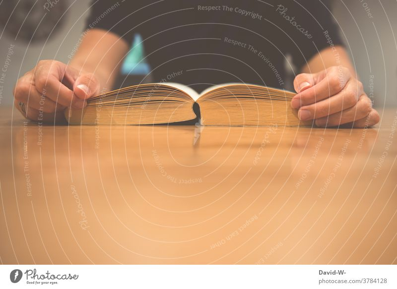 Ein Buch lesen Lesen Tisch Frau Bildung vertieft Lesestoff Leserin lernen Studium Literatur Roman zu Hause