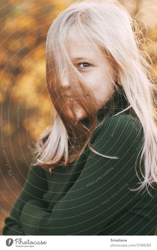 Porträt eines schönen Teenager-Mädchens mit blonden Haaren und blauen Augen mit einem Lächeln im Gesicht in einem Herbstpark Glück gelb Park Blatt fallen Saison