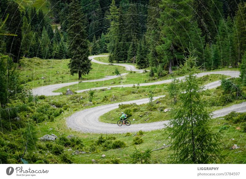 Downhill, auch Bergabfahrt. Ab nun gings bergab. mountain bike Himmel Farbfoto Fahrradfahren Außenaufnahme Freizeit & Hobby Straße Sport Fitness Menschenleer