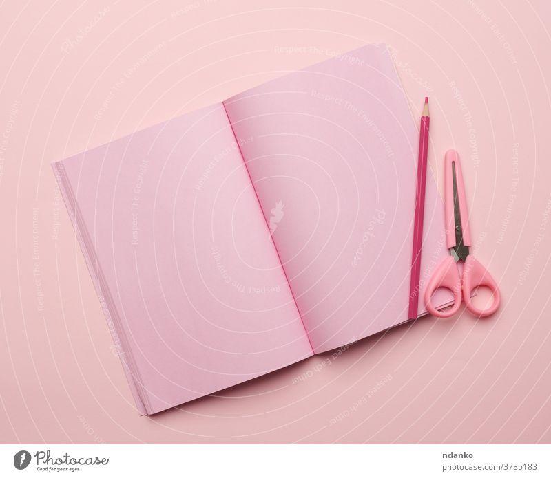 offenes Notizbuch mit leeren rosa Seiten auf rosa Hintergrund Schreibpapier oben blanko Buch Sauberkeit Konzept Design Tagebuch Bildung flach Tor legen List