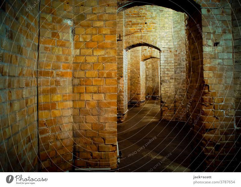 zwischen alten Gemäuern einfach geradeaus Bauwerk Architektur Raum Backstein historisch Gewölbe Strukturen & Formen Gang Untergrund verwittert Kunstlicht